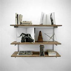 wood shelves, glass support