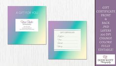 Gift Certificate Card Template  Front and Back by DovieScottPhoto, $5.99