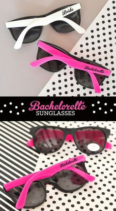 Surprise your #bridalparty with white & hot pink custom #sunglasses #wedding #bachelorette