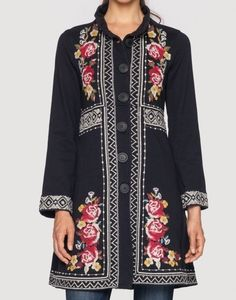 NWT JOHNNY WAS EMBROIDERED JOY MILITARY COAT JACKET BLACK FLORAL SZ XXL XL  #JOHNNYWAS #Military