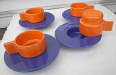4 TAZZE CAFFE' DESIGN FRANCO POZZI CERAMICA GALLARATE COFFEE CUPS COLOMBO PONTI | eBay