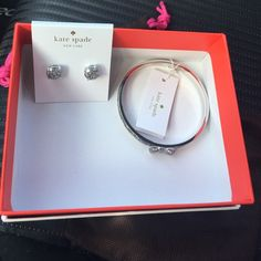 Kate spade silver glitter bow bracelet and earring Brand new beautiful matching bracelet and earrings by Kate spade. Comes with tags, dust bags, and boxes! Very pretty silver with glitter. Bracelet has a bow on it. Sold out pretty much everywhere! kate spade Jewelry Bracelets