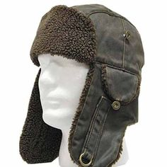 3040077fa9f from amazon.com · WEATHERED TROOPER Brown Pilot AVIATOR Faux Leather Hat  USHANKA Trapper Men and Women 7 1