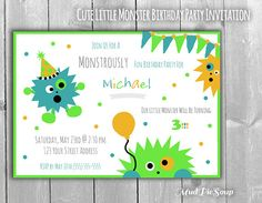 Cute Little Monster Birthday Party Invitations by MudPieSoup on Etsy