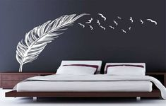 Left right flying feather wall stickers home decor adesivo de parede home decoration wallpaper wall art sticker PVC vinyl decals Wall Stickers Birds, Large Wall Stickers, Removable Wall Stickers, Wall Stickers Home Decor, Living Room Wall Stickers, Wall Decals For Bedroom, Kitchen Wall Decals, Bird Wall Decals, Custom Wall Decals
