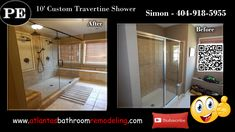 Custom Travertine Shower Before Remodeling and After
