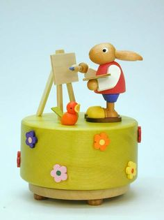 Love this bunny music box Wooden Figurines, Wooden Toys, Shabby Chic Colors, Woodworking Toys, Music Boxes, Doll Toys, Dolls, Antique Decor, Sewing Box