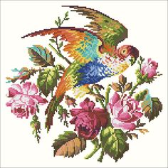 Parrot on a branch of roses | Chart for cross stitch (Berlin work).