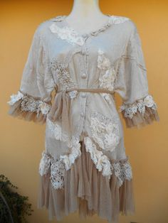 vintage inspired lagenlook jacket....romantic ole by wildskin, $93.75
