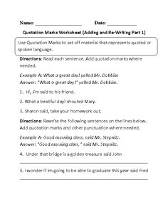 Re-Writing Quotation Marks Worksheet | educational | Pinterest ...