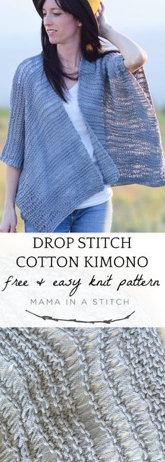 This super easy knitting pattern makes a gorgeous kimono, perfect for summer time! Free pattern as well as photos to show you how to assemble. Such a fun cardigan to make even for beginners. via Strickmuster Drop Stitch Cotton Easy Kimono Knitting Pattern Easy Knitting Patterns, Knitting Kits, Loom Knitting, Knitting Stitches, Free Knitting, Knitting Scarves, Knitting Tutorials, Cowl Patterns, Vogue Knitting