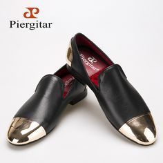 88c5d98d173 sale Piergitar 2016 new style Handmade Black Genuine Leather men shoes  with… Loafer Shoes,