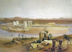 David Roberts - View of the Island of Philae with Isis Temple and Trajan's Kiosk, in the Nile, Nubia 1838