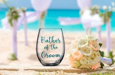 Father of the Groom Glass, Groom's Father, Wedding Favor, Wedding Wine Glass, Wedding Toasting Glasses, Glitter Wine Glass, Wedding Toast
