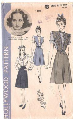 Vintage Hollywood Sewing Pattern 1940's War Years Merle Oberon