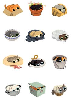 Cats Sitting On and In Things Art Print by Joy Ang | Society6