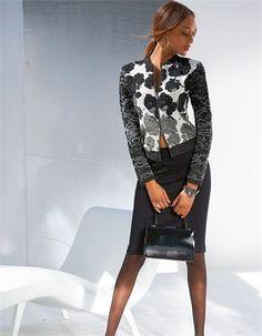 Edle Jacquard-Jacke mit Blickfang-Garantie! Aufwändig allover in faszinierendem Mustermix gearbeitet begeistert die Jacke mit raffiniertem Kontrastwechsel und aufregender Struktur.