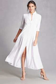 A woven maxi shirt dress featuring a basic collar, 3/4 length buttoned cuff sleeves, a button-down front, slip pockets, and an allover stripe pattern.  This is an independent brand and not a Forever 21 branded item.