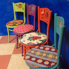 Mexican style hand painted chairs of floral patterns from Mexican inspired brushwork on four cafe chairs with bright colored print cushions trimmed in zigzag sewn detailing. All one of a kind furniture. Hand Painted Chairs, Funky Painted Furniture, Decoupage Furniture, Colorful Furniture, Paint Furniture, Furniture Makeover, Painted Tables, Chair Makeover, Furniture Design