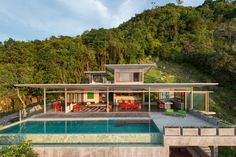 A private, modern villa with a lap pool that's for rent and located in Koh Samui, Thailand and sits atop a hill on the quieter side of the island.