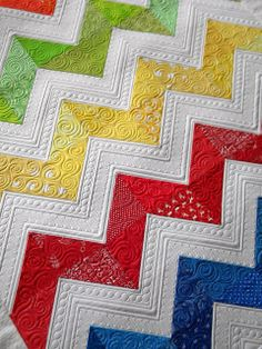 Sew Kind Of Wonderful: Lisa's Chevron Quilt. Now this is a chevron quilt I could love. The quilting makes it! Colchas Quilting, Machine Quilting Patterns, Quilt Stitching, Free Motion Quilting, Quilt Patterns, Quilting Ideas, Quilting Board, Crazy Quilting, Chevron Quilt Pattern