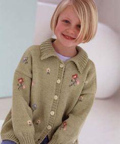 Free Knitting Pattern - Flower Cardigan