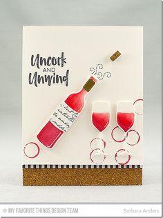 Uncork Stamp Set, Recipe for Happiness Stamp Set, Romantic Script Background, Wine Service Die-namics - Barbara Anders  #mftstamps
