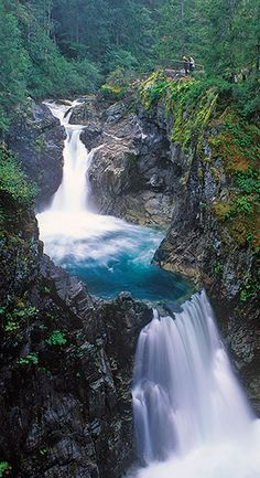 Little Qualicum Falls Provincial Park, Vancouver Island, British Columbia ~ Beautiful Waterfalls, Beautiful Landscapes, Landscape Photography, Nature Photography, Travel Photography, Adventure Photography, Places To Travel, Places To See, Travel Destinations