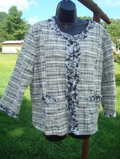 EUC! NOTATIONS XL BEAUTIFUL TWEED FLOWER LINED FAB COAT BLOUSE BLACK CHECKER MOD #NOTATIONS #Blouse