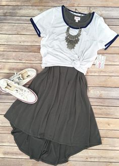 Lularoe outfit styling - Classic tee with knot layered over gray Carly dress