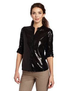 Amazon.com: Calvin Klein Women's Sequin Blouse: Clothing