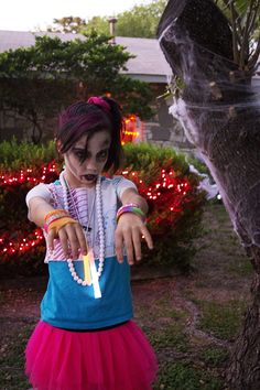 Amber's 80's Zombie DIY costume for the #Goodwill #Halloween #costume contest! Vote by re-pinning!