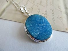 Druzy necklace  Blue druzy stone pendant by SeptemberWillow