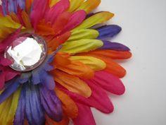 Rainbow Daisy flower HAIR CLIP by itsashorething on Etsy, $3.95