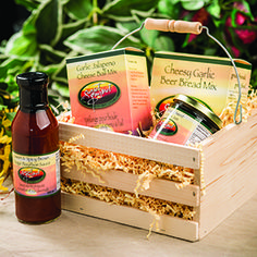 Simple Pleasures Country Crate $44.99  Cheesy Garlic Beer Bread Garlic Jalapeno Cheese Ball Pineapple Jalapeno Jelly Sweet & Spicy Brown Sugar Bourbon Sauce