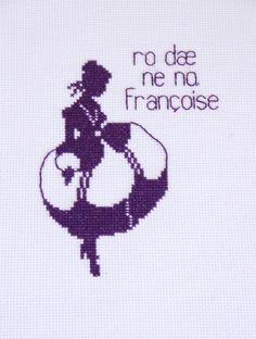 [reservert: Hilde B] Ro dæ ne no, Françoise   Uhu-gle - lilla - håndbrodert bilde