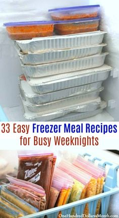33 Easy Freezer Meal Recipes for Busy Weeknights - One Hundred Dollars a Month -. - 33 Easy Freezer Meal Recipes for Busy Weeknights – One Hundred Dollars a Month – Freezer meals - Chicken Freezer Meals, Freezable Meals, Budget Freezer Meals, Freezer Friendly Meals, Make Ahead Freezer Meals, Crock Pot Freezer, Freezer Cooking, Frugal Meals, Groceries Budget