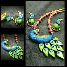 Different design of peacock and other things Terracotta Jewellery Making, Terracotta Jewellery Designs, Terracotta Earrings, Beaded Necklace Patterns, Jewelry Patterns, Thread Jewellery, Diy Jewellery, Jewelry Making, Teracotta Jewellery