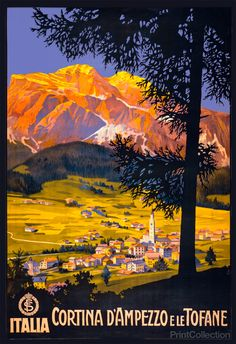Travel poster showing a view from a hillside of Cortina d'Ampezzo in valley, with the Tofane mountains in the distance. Published by the Roma: Stab. L. Salomone in the 1920's as a color lithograph at 100 x 69 cm.