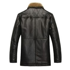 Men Black Sheepskin Leather Fur Single Breasted Fitted Dress Down Coat SKU-116202