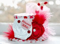 Valentine's Mini Top Hat  - Alice in Wonderland  - Photo Prop - Kissing Booth - Valentines. $28.00, via Etsy.