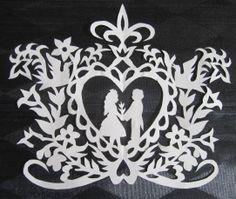 Scherenschnitte. Wedding paper cut.
