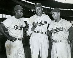 Jackie Robinson, Don Newcombe and Roy Campanella--Original Brooklyn Dodgers