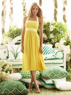 Prinzessin Gefaltet kurz Gelb Chiffon Brautjungfer Kleid