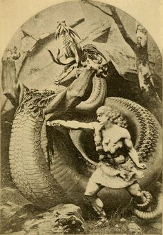 Sigurd killing dragon Fafnir - the original cover of the Norse story book published in 1900