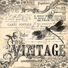 Sticker vintage collage - estampe - romantique • PIXERS.fr