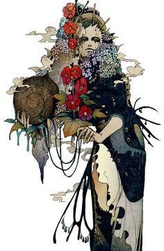 A Arte de Akiya Kageichi - Design Innova Art And Illustration, Fantasy Kunst, Fantasy Art, Arte Tribal, Arte Horror, Asian Art, Japanese Art, Dark Art, Oeuvre D'art