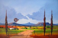 Pieter van Heerden - Colourful Freestate Scene 2 x Abstract Landscape, Landscape Paintings, Abstract Art, Windmill Art, Paintings I Love, Oil Paintings, African Paintings, South African Artists, Naive Art