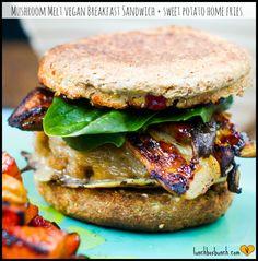 Mushroom Melt Breakfast Sandwich with Sweet Potato Home Fries | Happy. Healthy. Life.