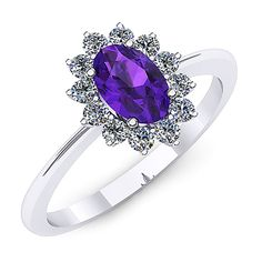 Inel de logodna din aur alb, cu un ametist oval si diamante de jur imprejur Aur, Heart Ring, Sapphire, Rings, Jewelry, Jewlery, Jewerly, Ring, Schmuck